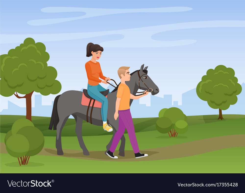 Man leading the horse with the woman riding on it