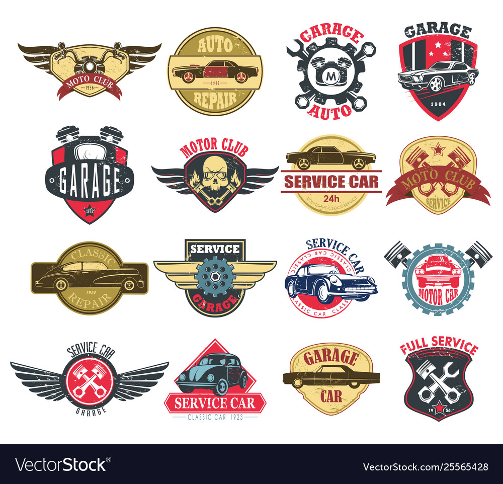 Moto or motorcycle car or auto service icons
