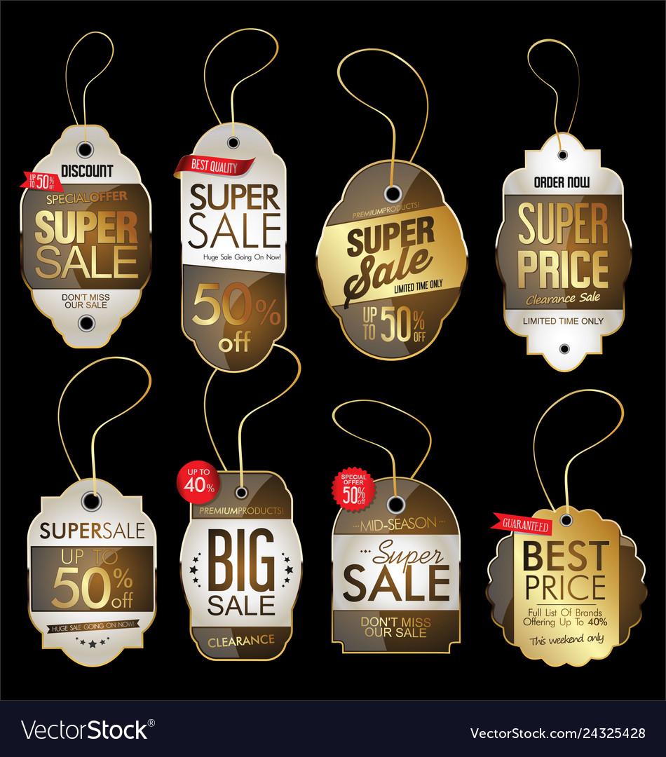 Paper price tag retro vintage golden style design