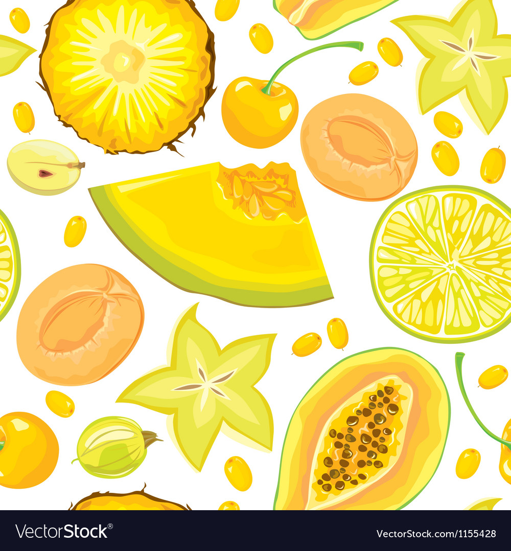 Seamless pattern of yellow fruits and berries vector image