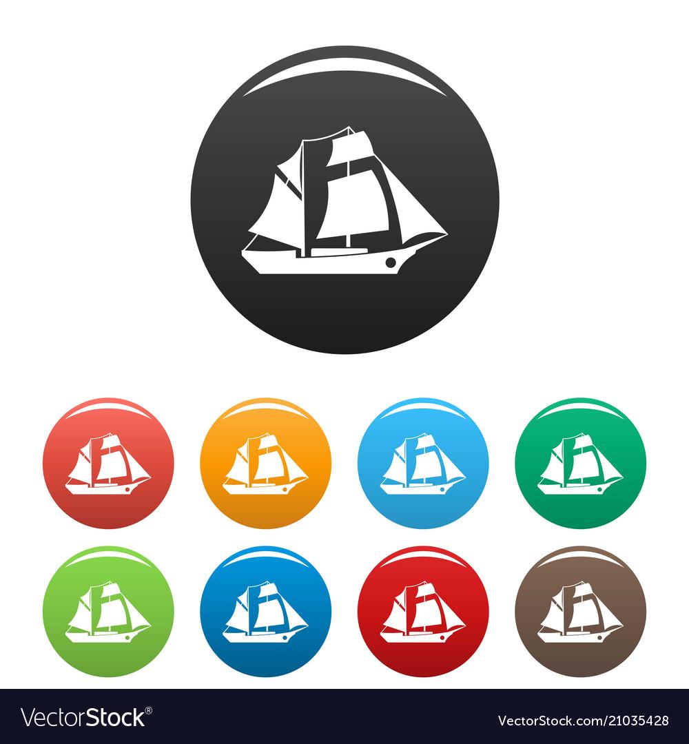 Ship excursion icons set color