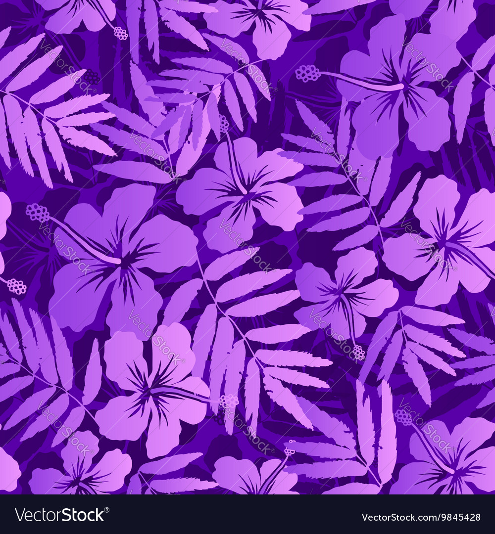 Violet tropical flowers seamless pattern