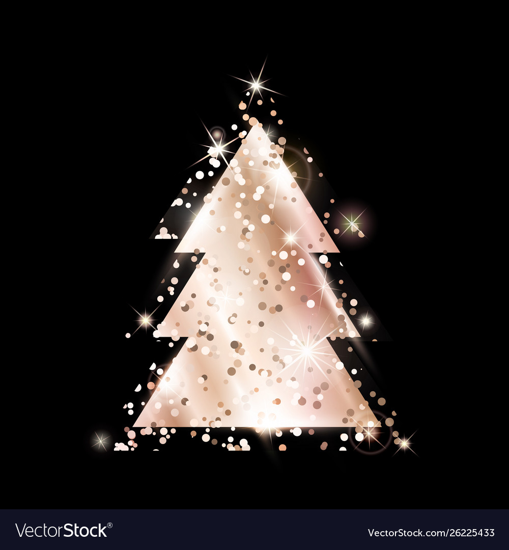 A Geometric Christmas Tree Rose Gold Glitter Vector Image