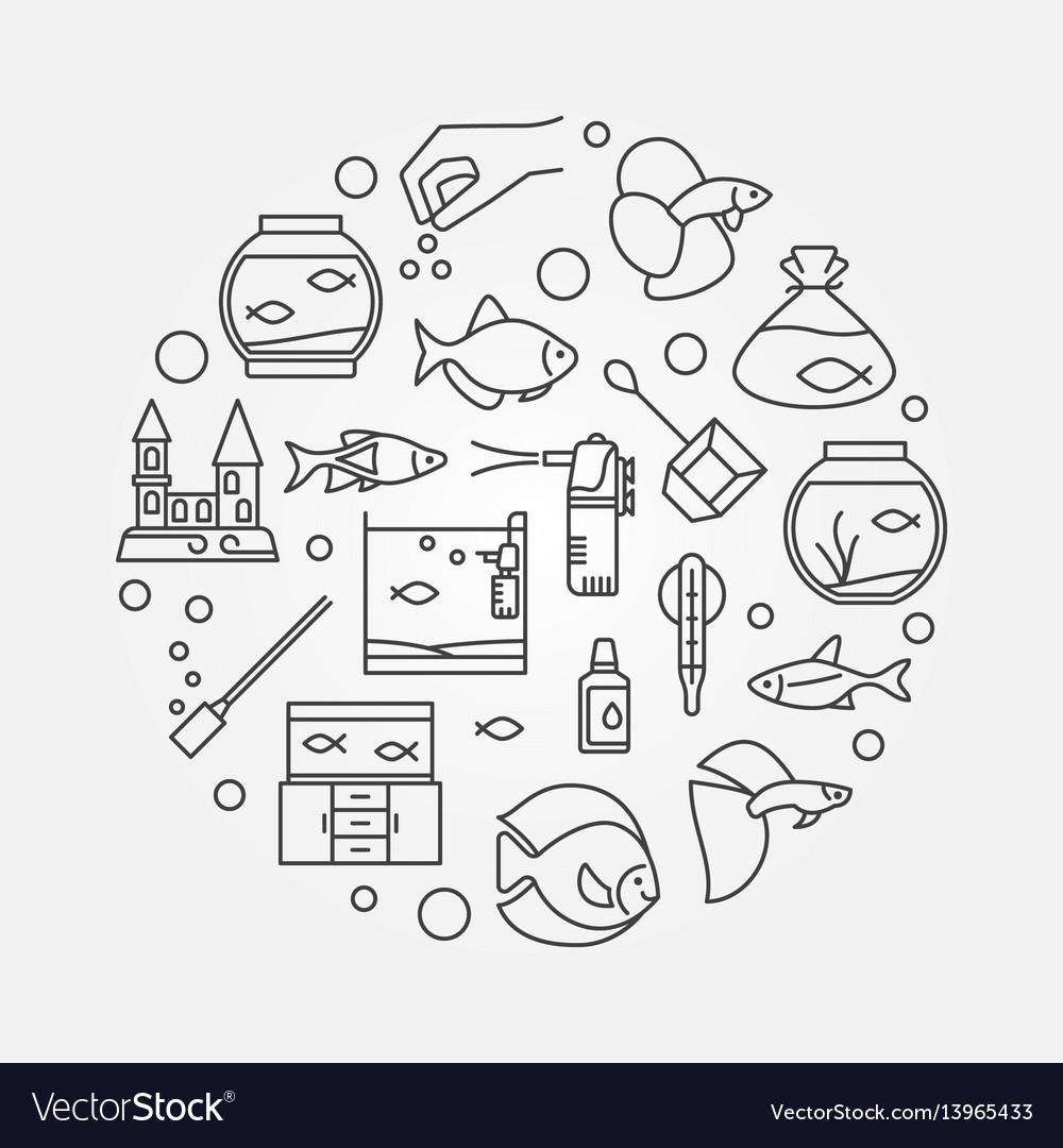 Aquarium outline vector image