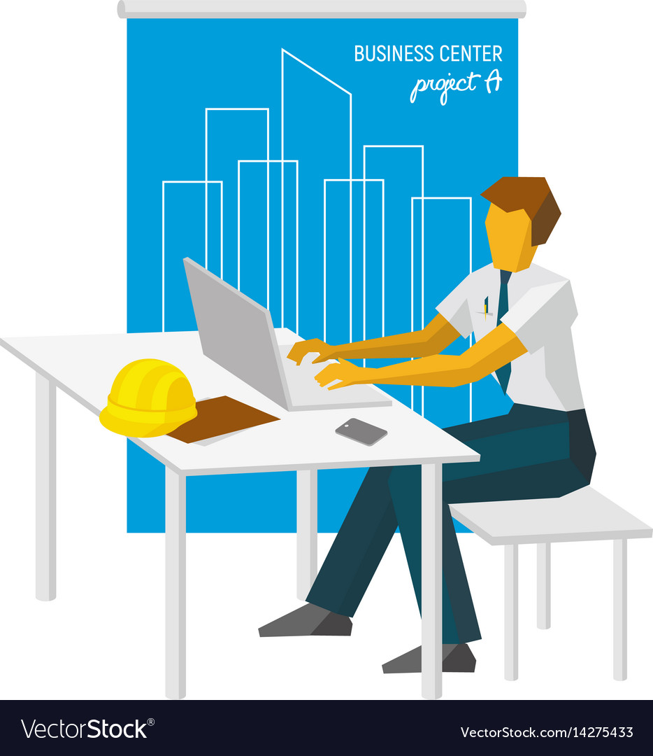 Architect work with laptop blueprint at back