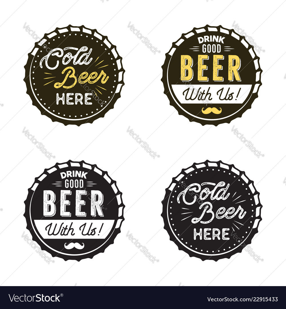 Beer emblems collection color and silhouette