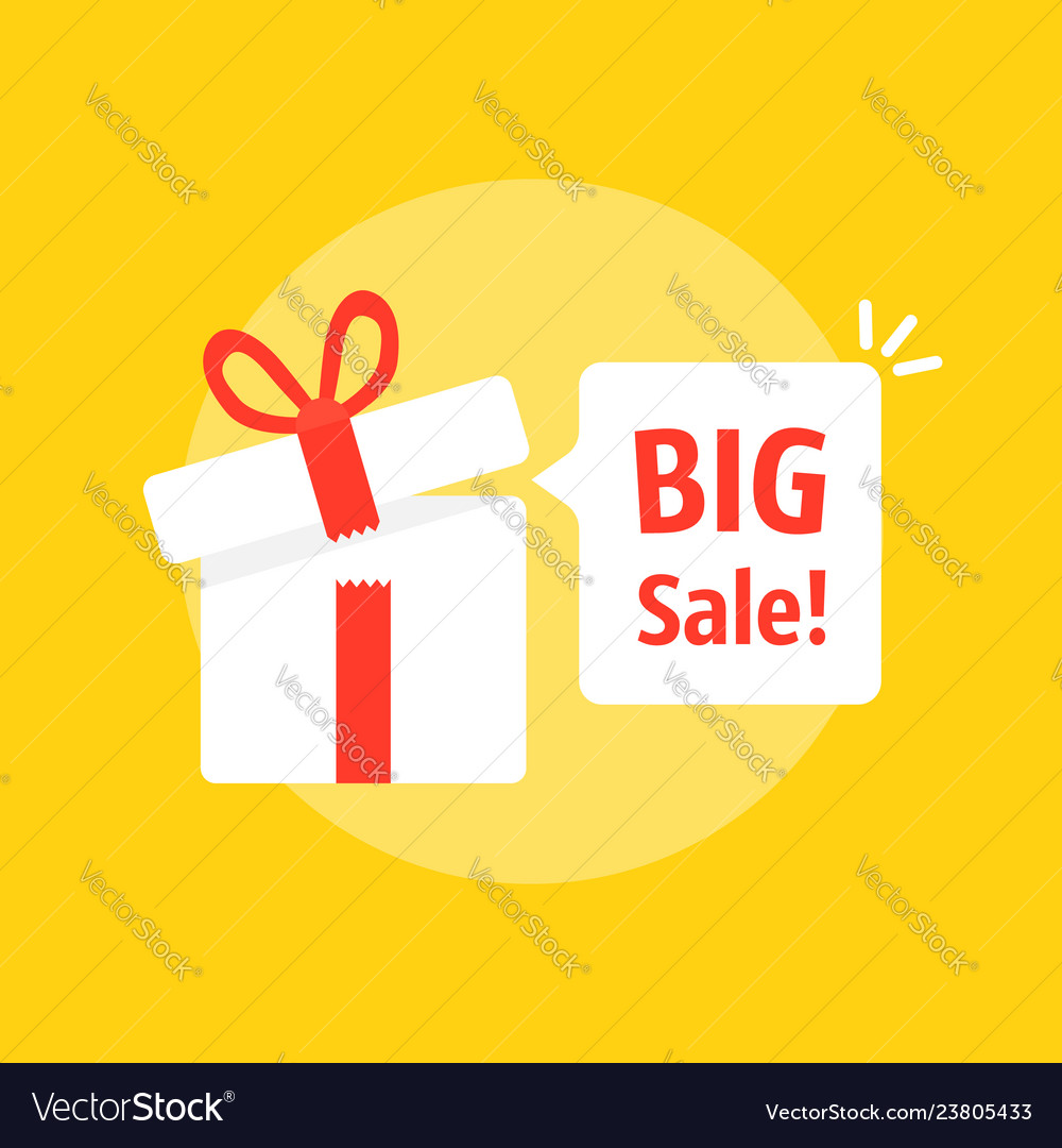 Big sale bubble with open gift box