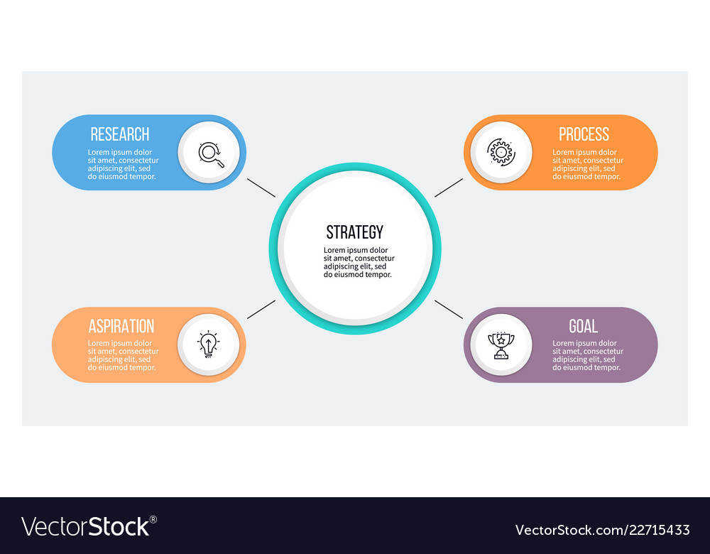 Business infographic organization chart with 4