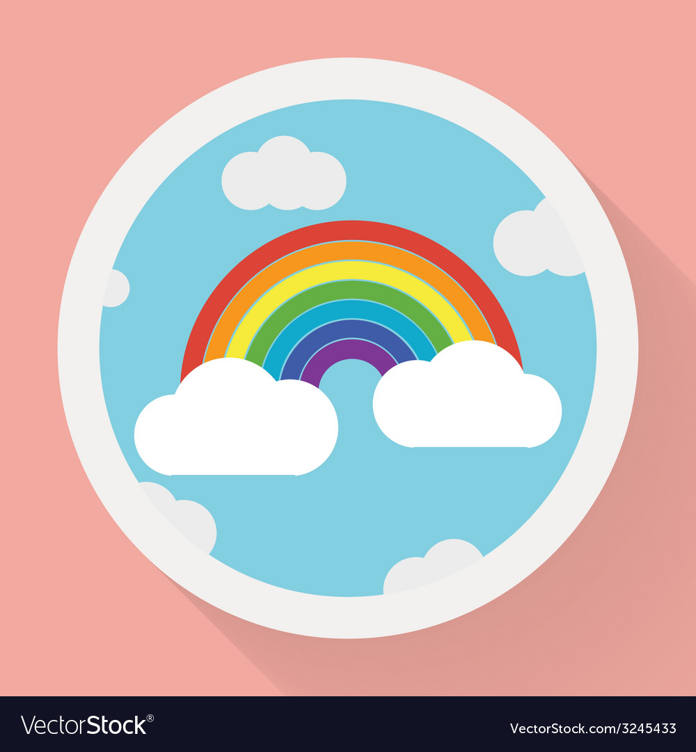 Color rainbow with clouds Flat style vector image