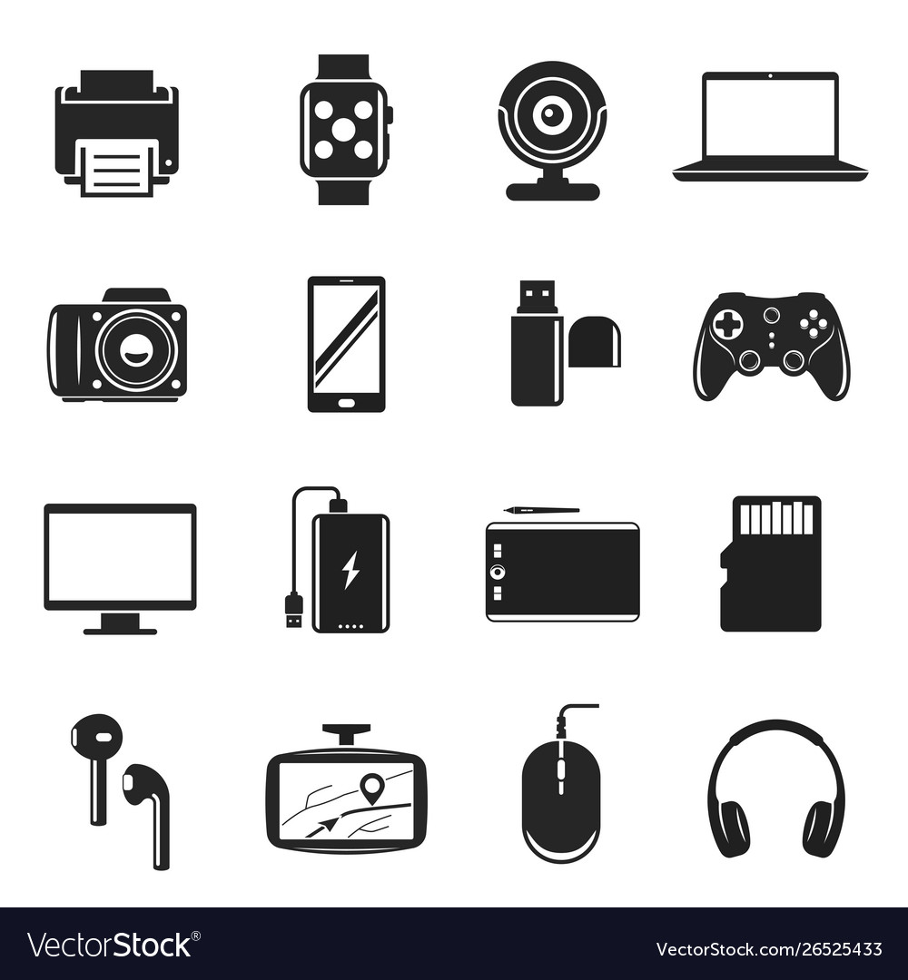 Devices and gadgets set computer and