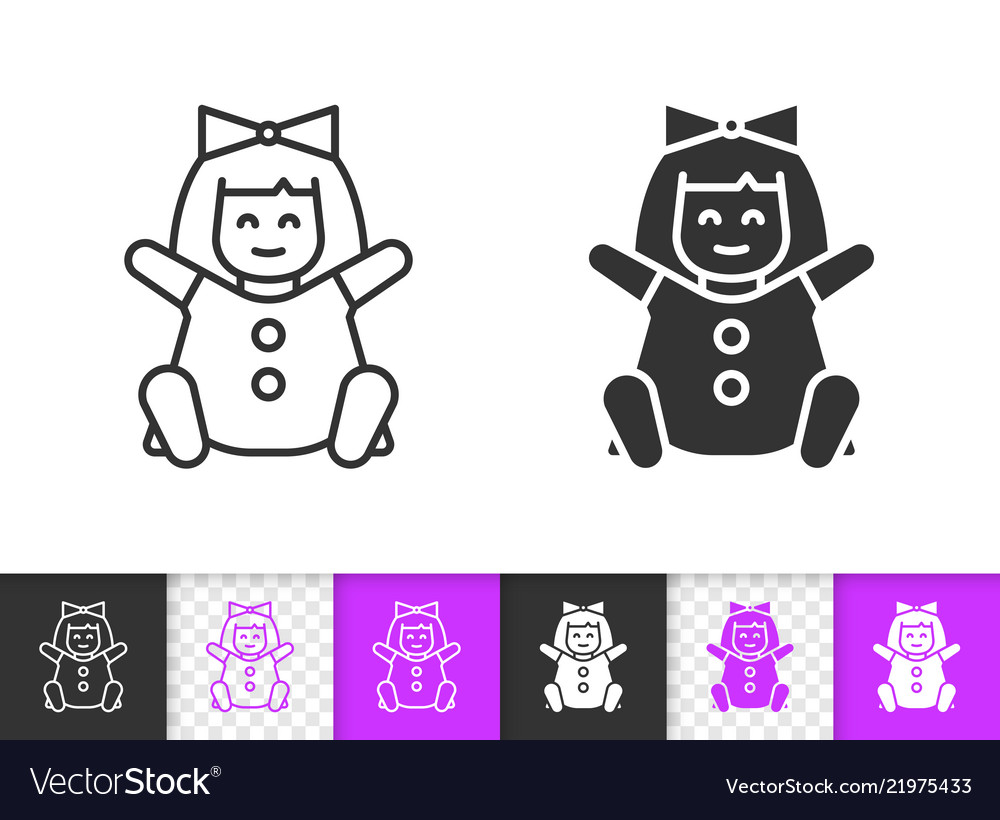 Doll simple black line kids toy icon