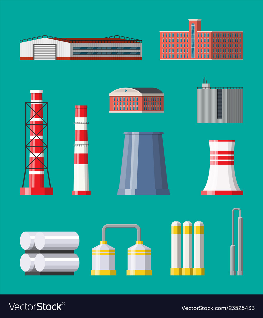Factory icon set industrial factory power plant