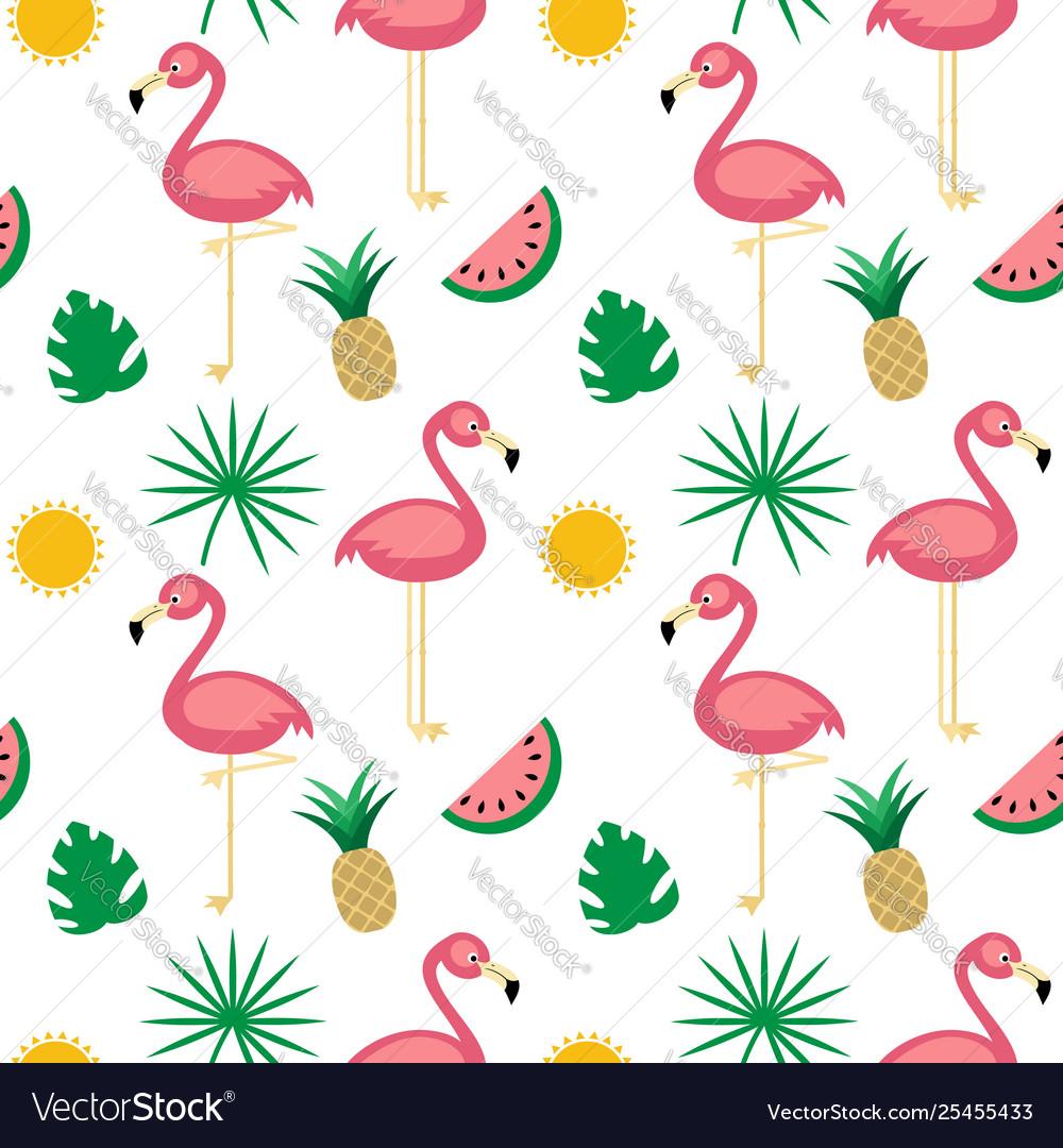 Flamingotropical fruits seamless pattern white