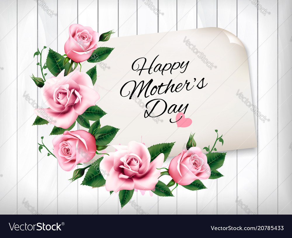 Mothers day background with a pink roses and