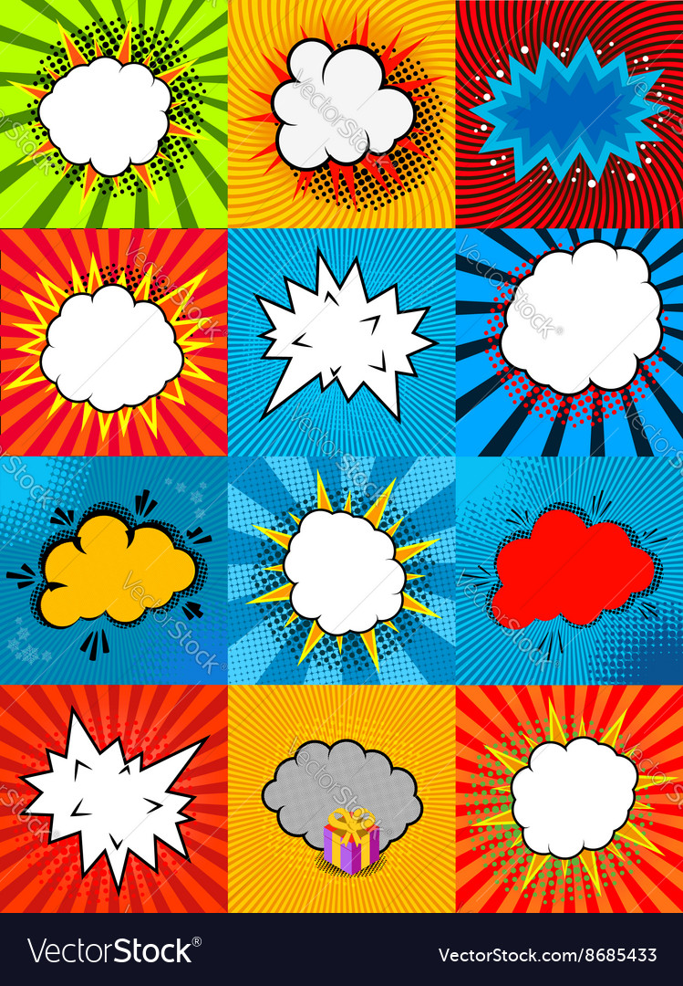 Set of comic style speech bubbles with colorful vector image