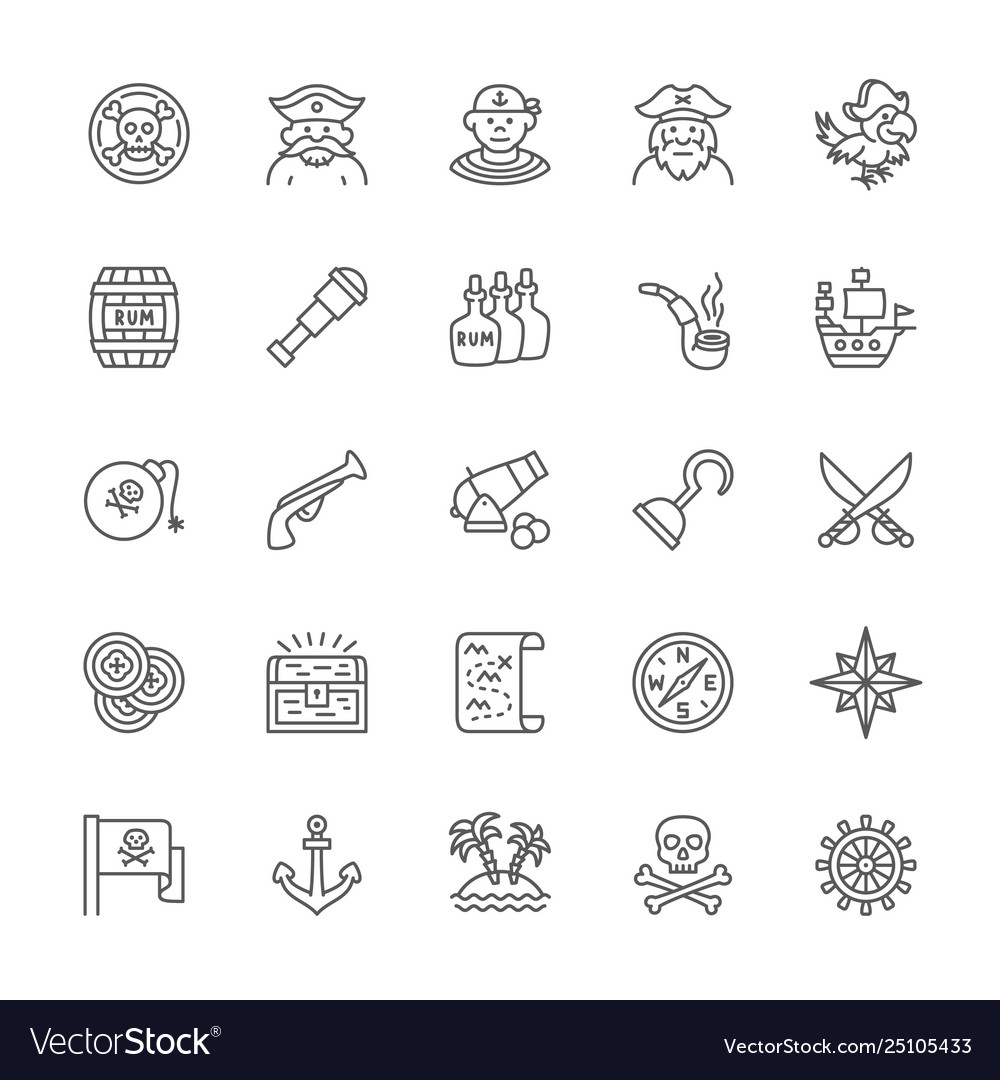 Set pirates line icons sailor boatswain
