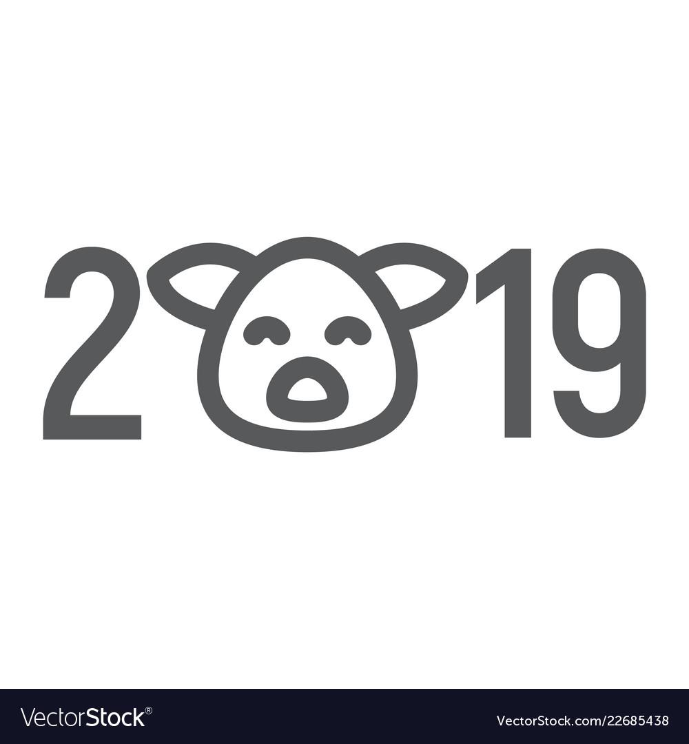 2019 pig year line icon celebration