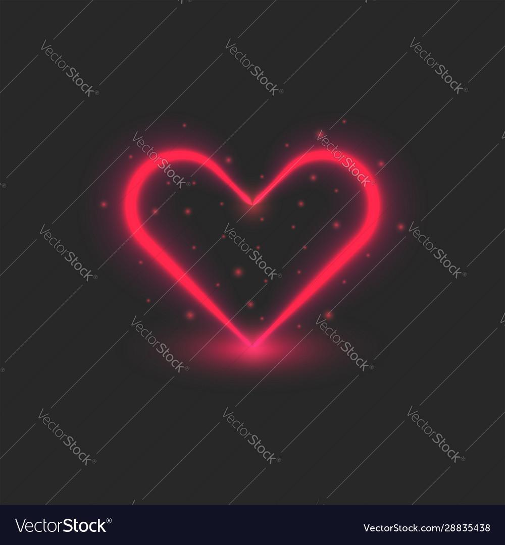 Blank valentine card red heart glowing neon