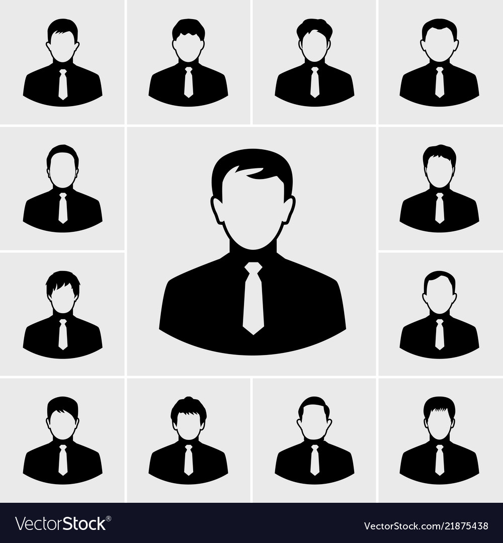 Business man in suit icons set