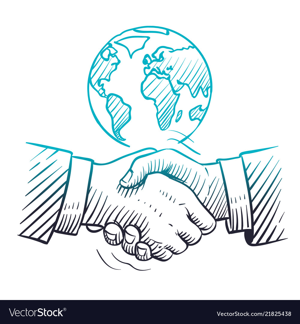 Hand drawn handshake international business