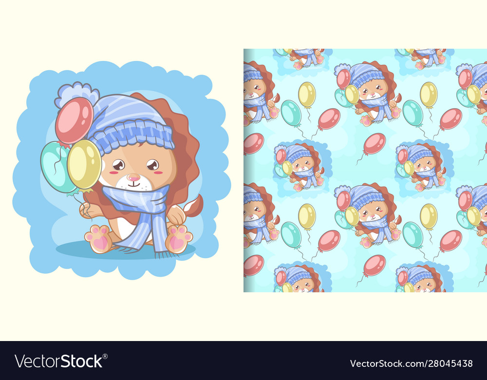 Hand drawn happy cute lion with balloons and