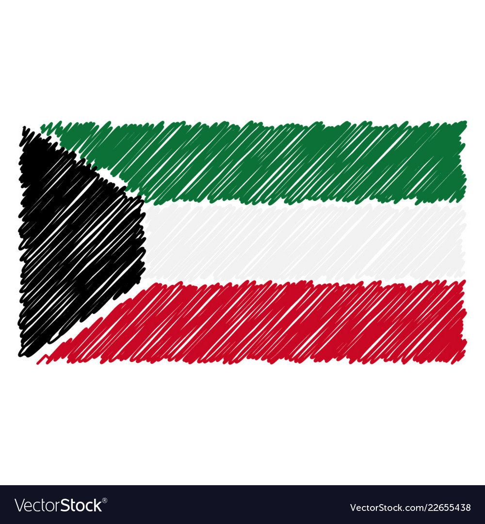 Hand drawn national flag of kuwait isolated on a