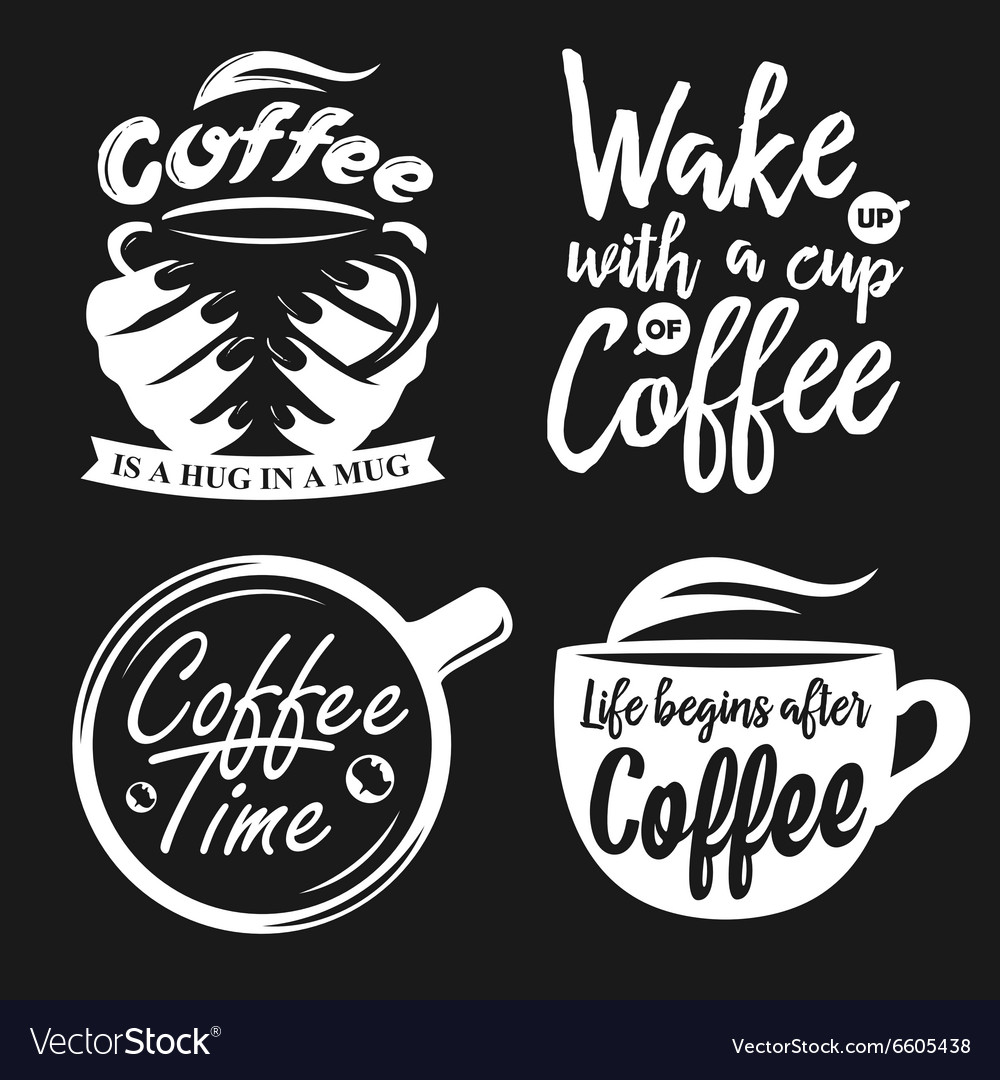 Hand drawn typography coffee posters set