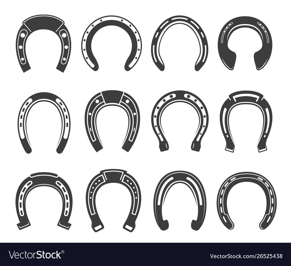 Horseshoe icon set luck and fortune symbol