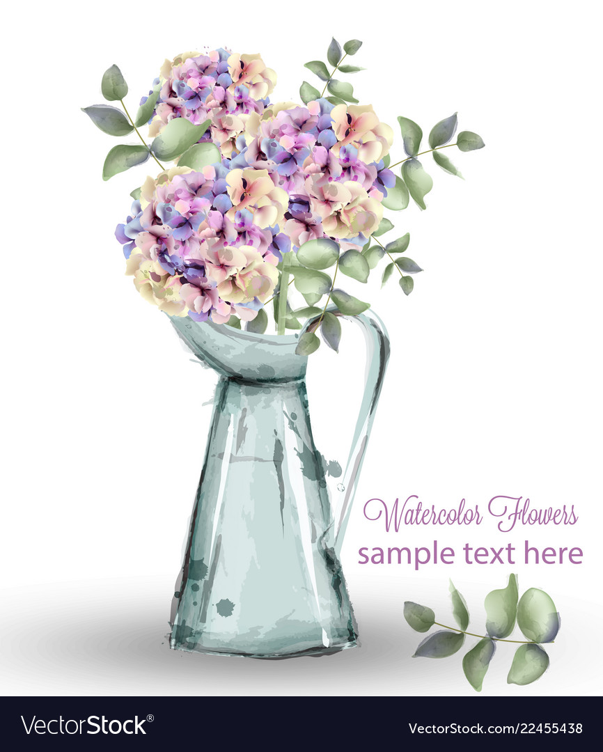 Hydrangeas Watercolor Floral Bouquet Royalty Free Vector
