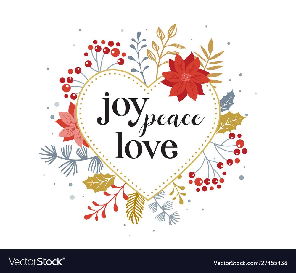 Joy peace love merry christmas card with