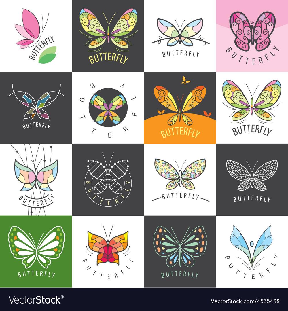 Large set of logos butterflies