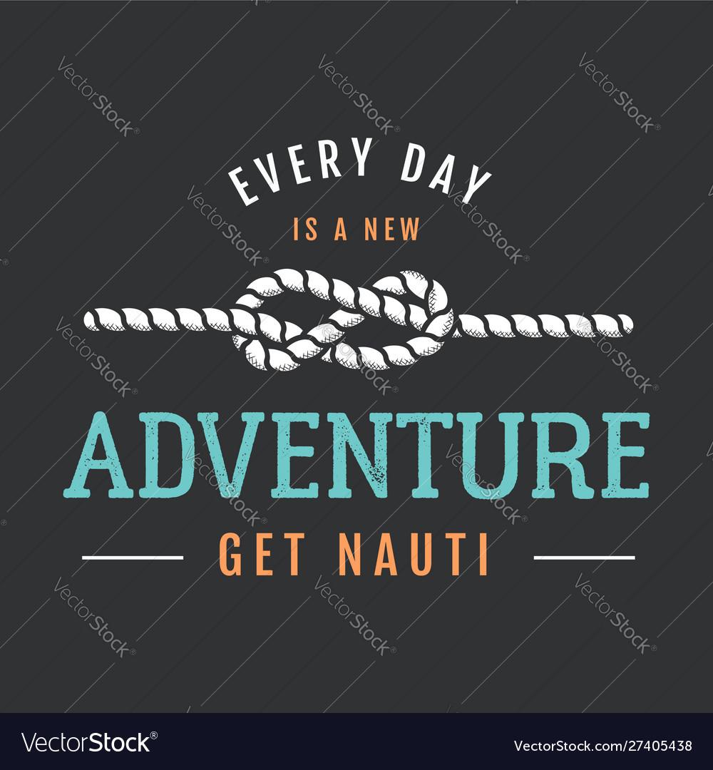 Nautical adventure style vintage print design for