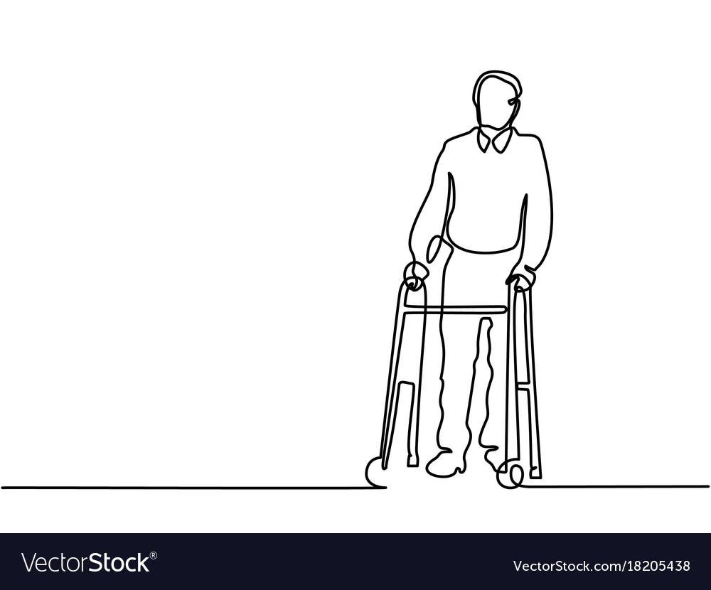 Old man using a walking frame Royalty Free Vector Image