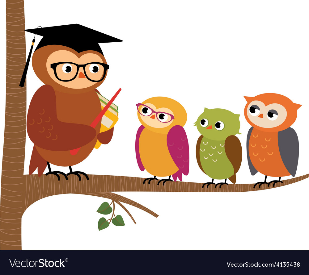 Owl teacher and his students vector image