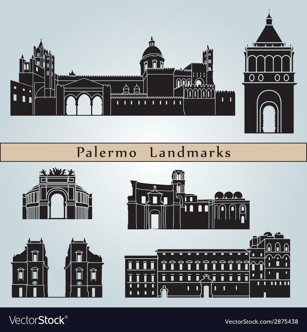 Palermo landmarks and monuments vector image