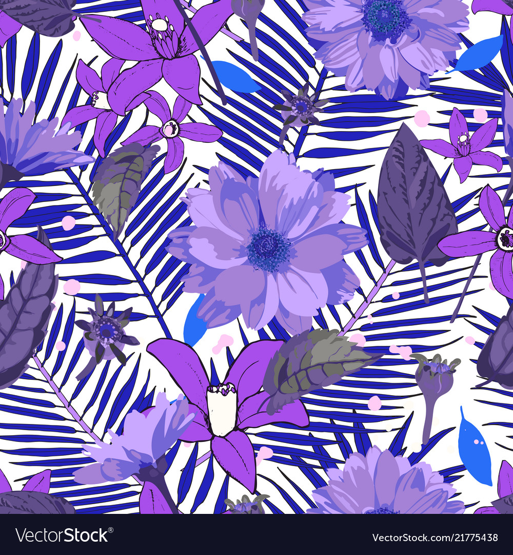 Seamless pattern with chrysanthemums flowers