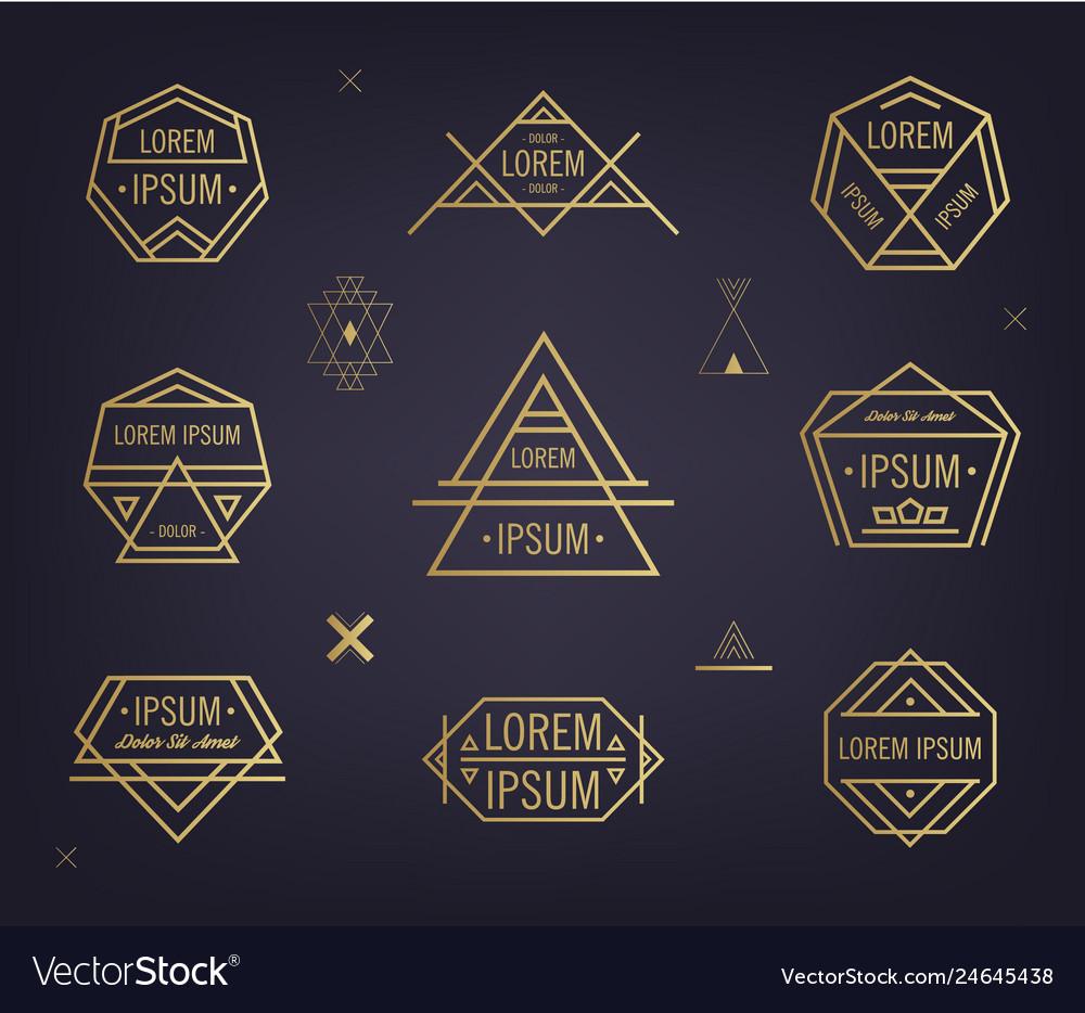 Set of abstract geometric logos mystical