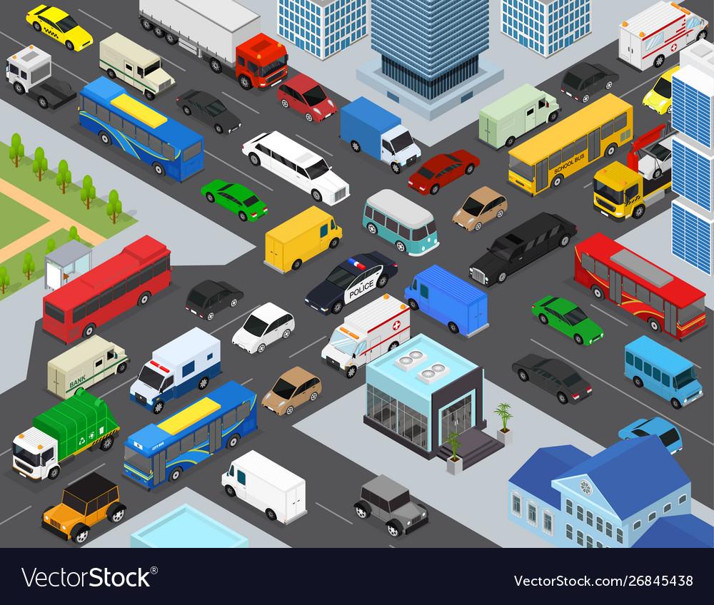 Traffic Jams On A City Landscape Background Scene Vector Image