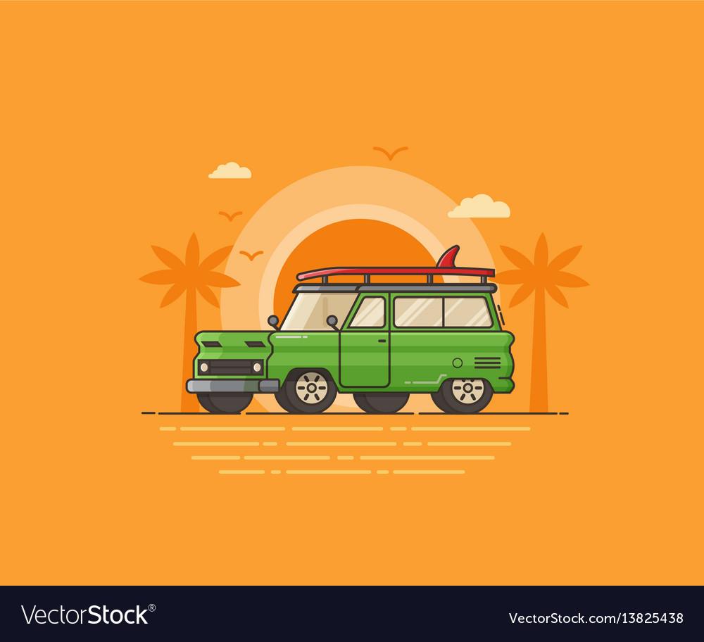 Travel surfing car on summer beach
