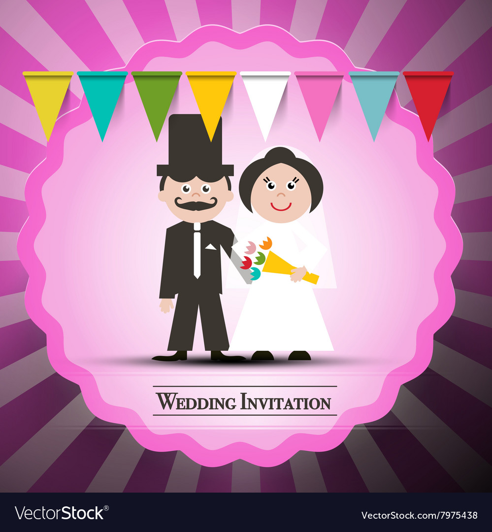 Wedding Invitation Retro Card with Flags and Pink