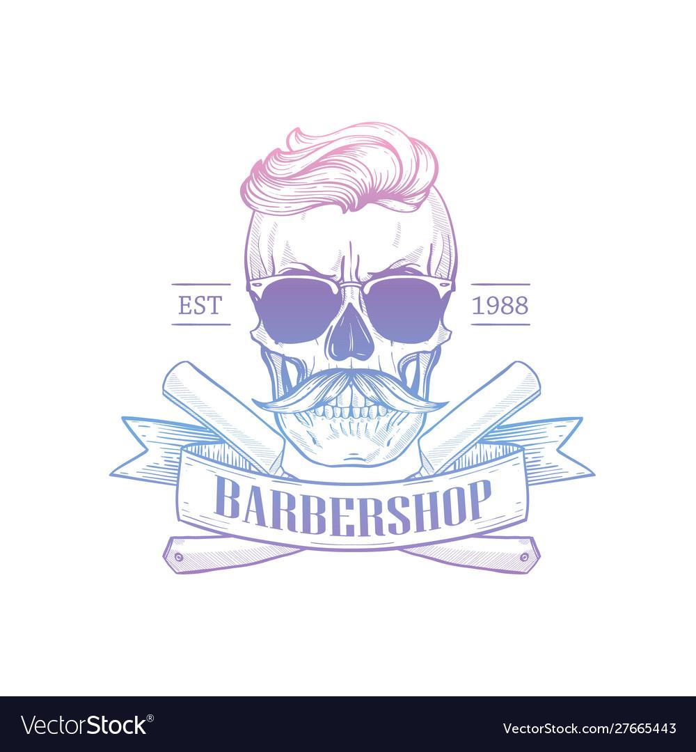 Barbershop logo with angry skull