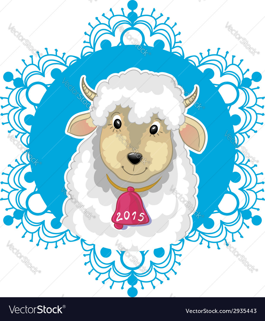 Card with blue snowflake and little cute sheep