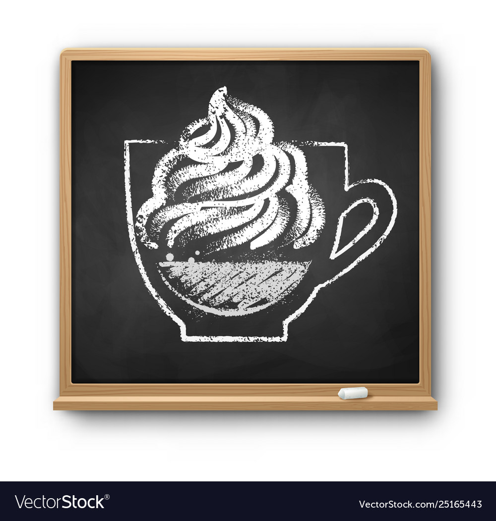 Chalkboard with chalked con panna coffee