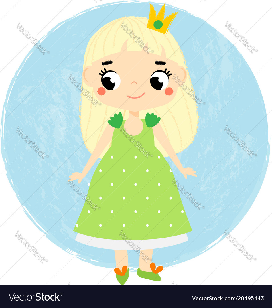 Cute princess little baby girl in queen crown vector image