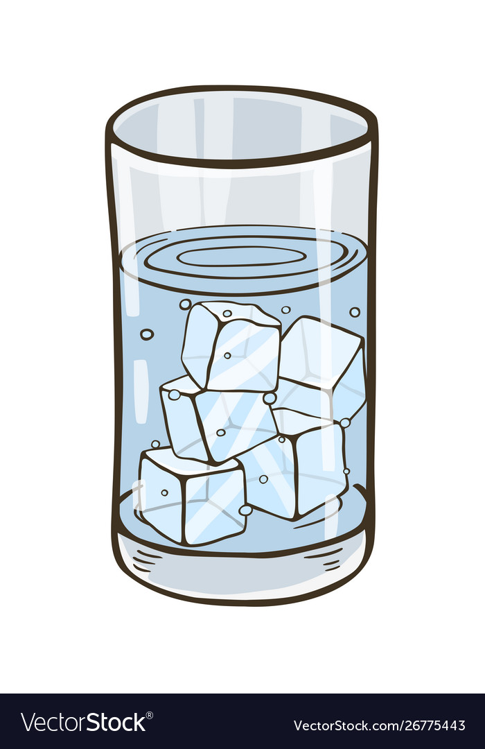 Glass Water With Ice Cubes Royalty Free, Glass Ice Cubes Vector