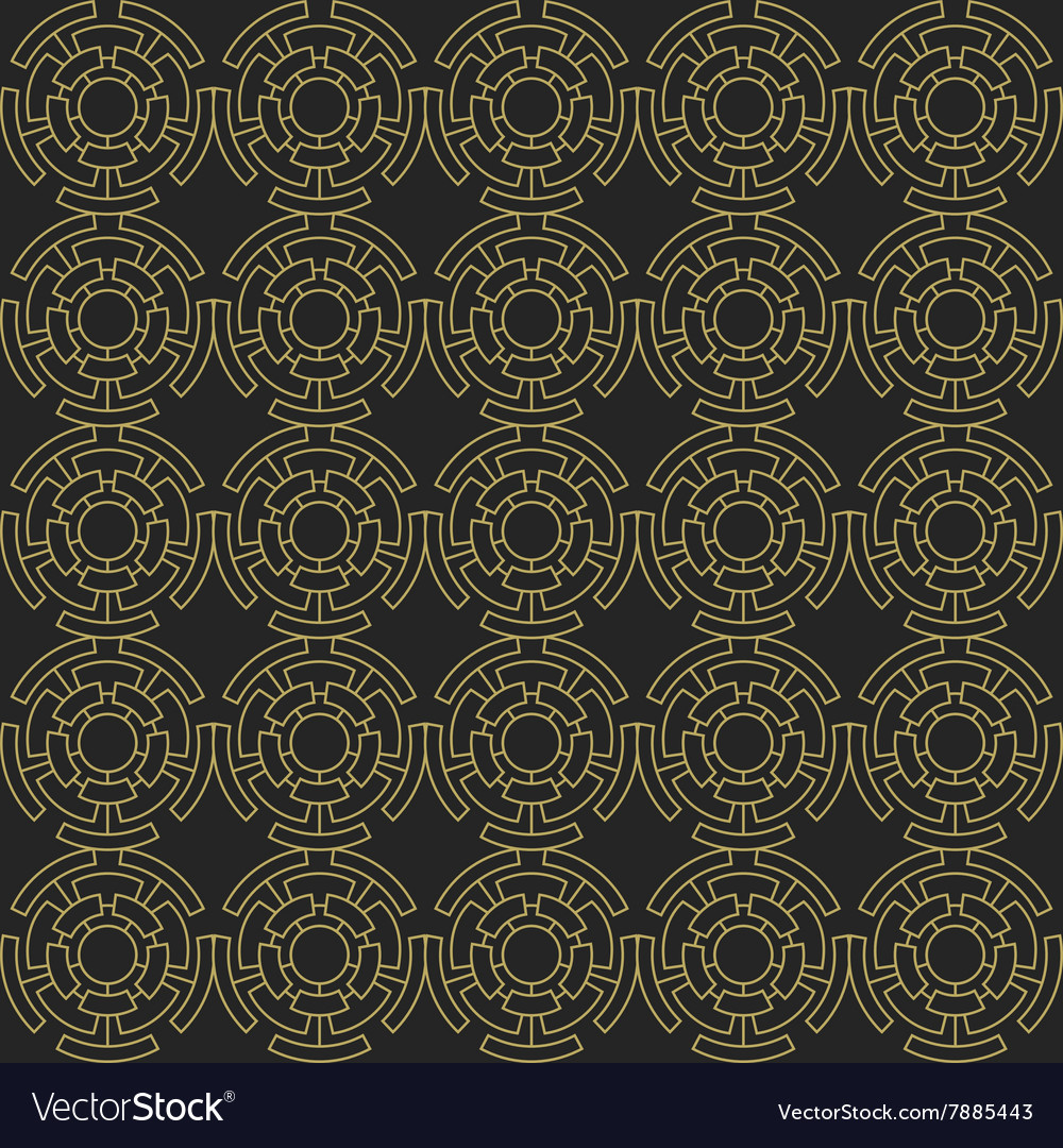 Golden geometric seamless ornament vector image