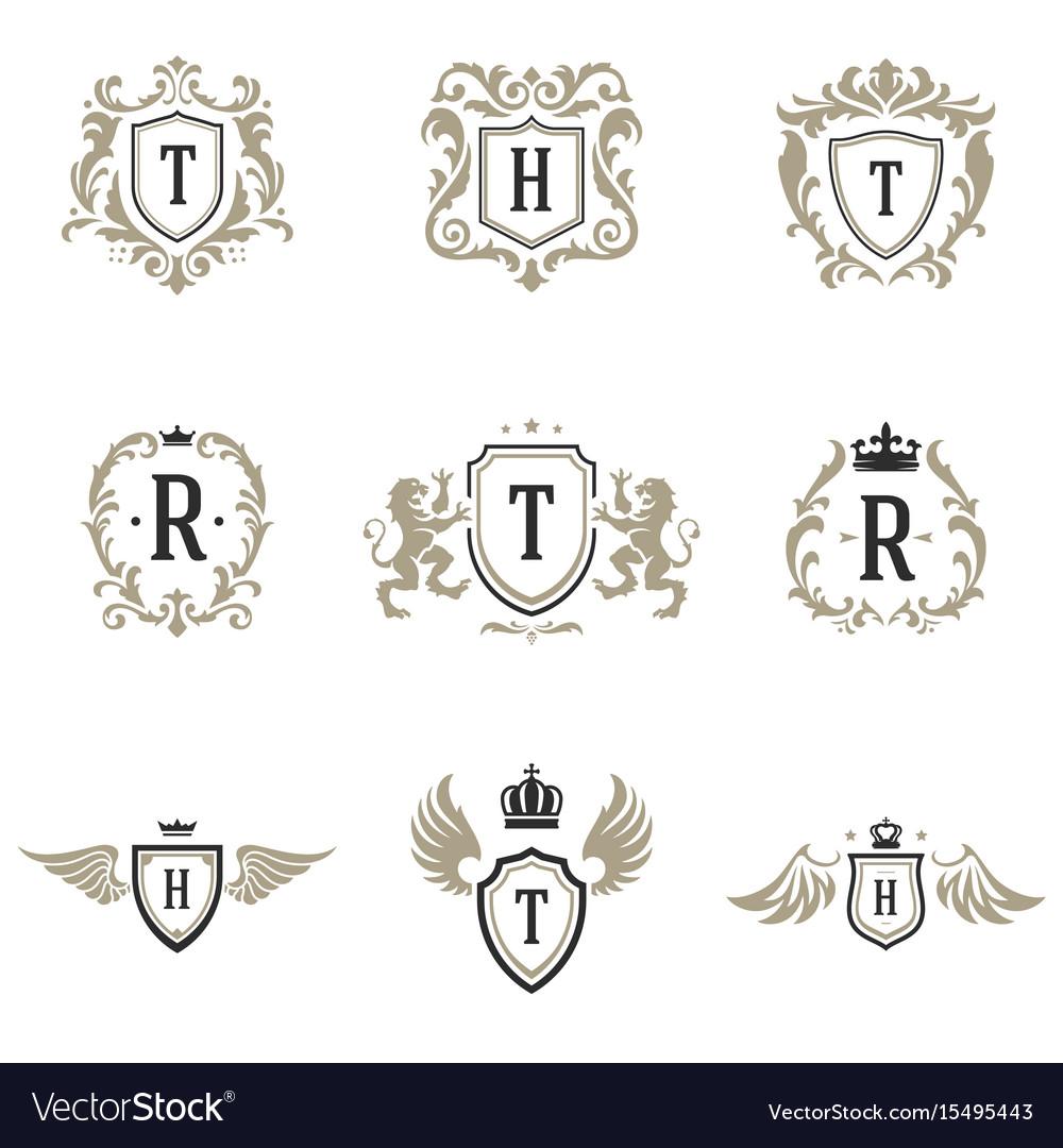 Luxury monogram logos templates objects set vector image