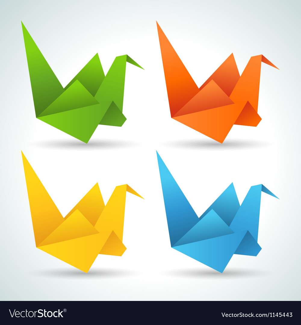 Origami paper birds collection vector image