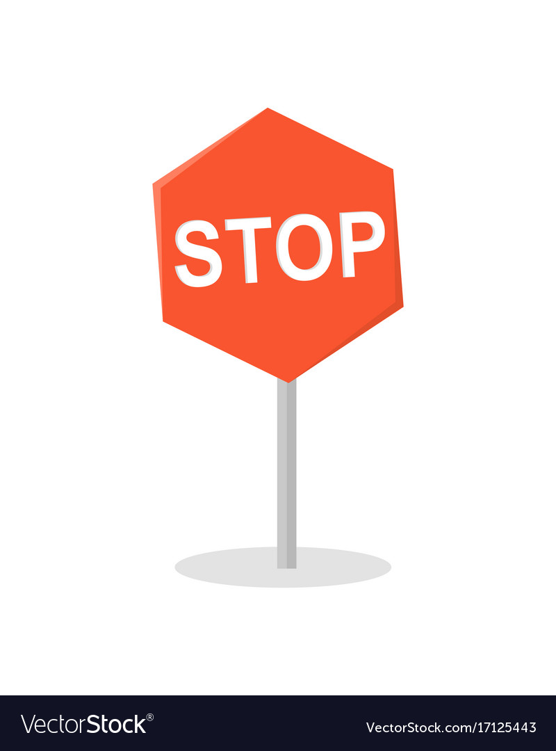 Stop road sign in flat design