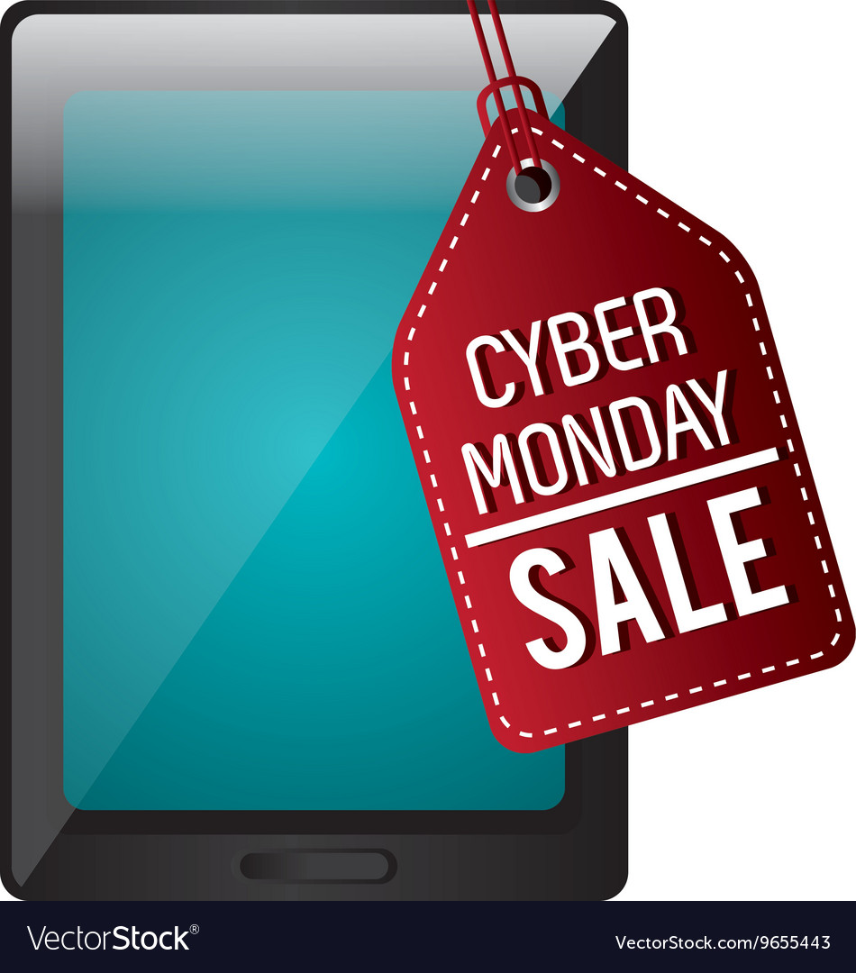 Tablet With Cyber Monday Discount Royalty Free Vector Image